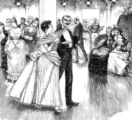 Gentleman flirts with young woman at the ball white two old spinsters look at them with great interest, vintage illustration