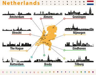 Fototapete - Netherlands map with largest cities skylines silhouettes