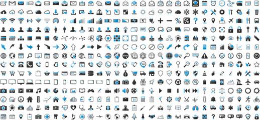 Black and blue web business technology icons set
