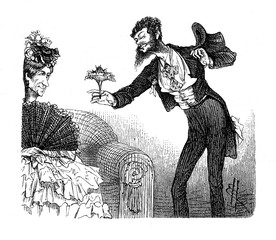 Vintage caricatures and fun: weird gentleman courting an old spinster offering a bouquet of flowers