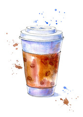 Coffee cup.Sketch of a drink. Watercolor hand drawn illustration.White background.