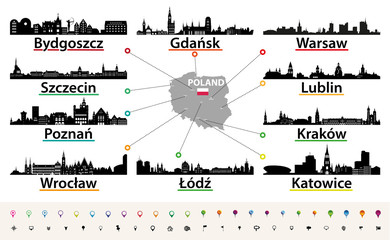 Fototapete - vector map of Poland with largest city skylines silhouettes