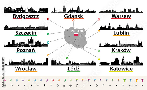 Fototapete vector map of Poland with largest city skylines silhouettes