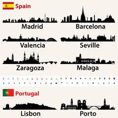 Fototapete - Spain and Portugal largest cities skylines silhouettes vector set