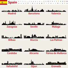 Fototapete - Spain largest cities skylines silhouettes vector set