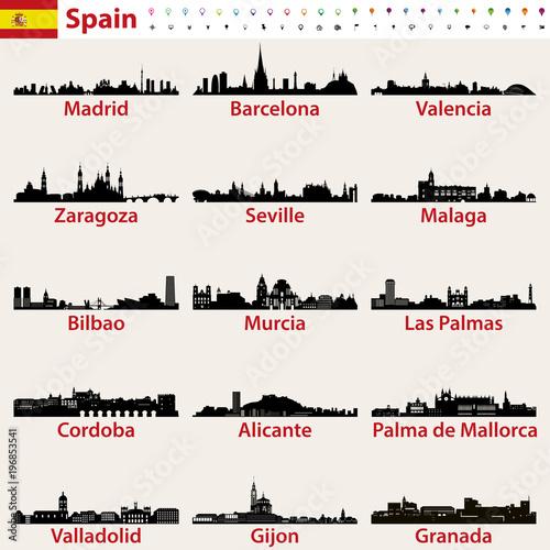 Fototapete Spain largest cities skylines silhouettes vector set
