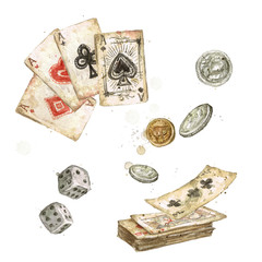 Old Playing Cards. Watercolor Illustration.