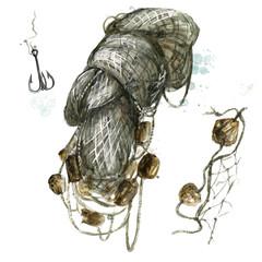 Fishing net. Watercolor Illustration.