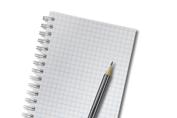 Open spiral blank notebook with pencil isolated on white background