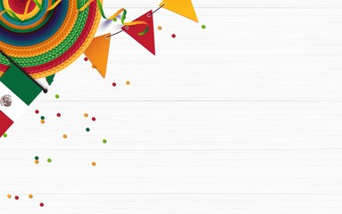 Mexican holiday background. Sombrero, mexican flag, confetti on white wooden background. Top view. Vector illustration
