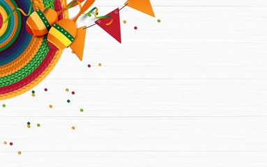 Mexican holiday background. Sombrero, maracas, confetti on white wooden background. Top view. Vector illustration