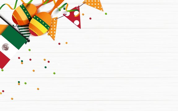 Mexican holiday background. Bunting flags, maracas, mexican flag on white wooden background. Top view. Vector illustration