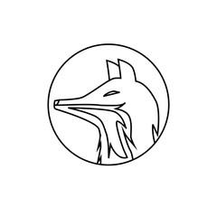 Fox Head Flat outlined Vector