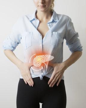 woman body with pancreas visualisation