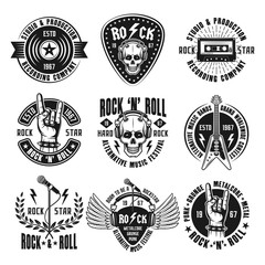 Rock n roll music set of vintage emblems, labels, badges and logos in monochrome style isolated on white background vector illustration