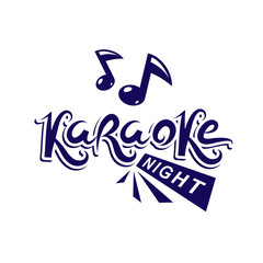 Karaoke night advertising flyer, vector poster composed using musical notes.