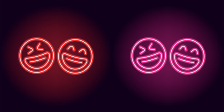 Red and pink neon laughing emoji, fool day