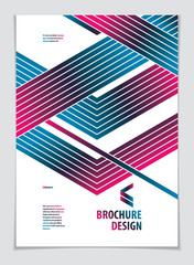 Template for Cover, Placard, Poster, Flyer and Banner Design. Cool geometric vector line background for your design. Minimalistic brochure design. A4 print format.