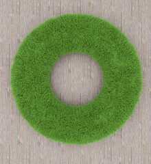 Round frame of grass on a wooden background. 3D render