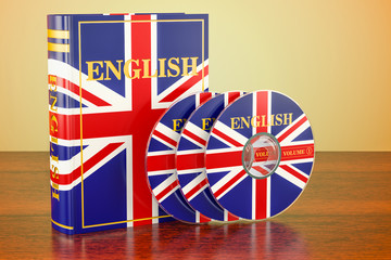 English book with flag of UK and CD discs on the wooden table. 3D rendering
