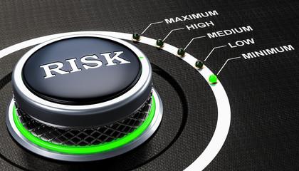 Lowest level of risk concept, knob. 3D rendering