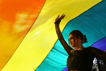 A participant walks under a rainbow flag during a gay pride parade promoting lesbian, gay, bisexual and transgender rights, in Chandigarh