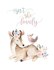 Door stickers Bestsellers Kids Cute baby deer animal nursery isolated illustration for children. Watercolor boho forest cartoon Birthday patry invitation Perfect for nursery posters, patterns