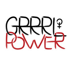 GRRRL POWER. Handwritten text .Feminism quote, woman motivational slogan. Feminist saying. Brush lettering.  Vector design.