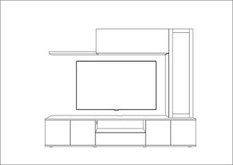 3D vector sketch. TV stand and entertainment center with appliances and decors. Modern living room interior. Modern creative TV furniture. Home Interior Design Software Programs.