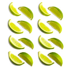Fresh limes slices isolated on white background