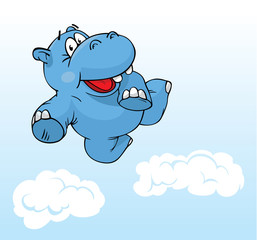 cute hippo flying