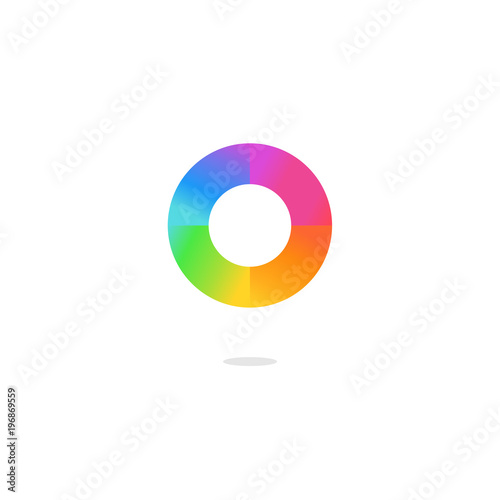 Colorful Letter O Logo Color Wheel And Color Palette On White