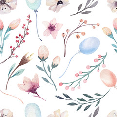 Boho seamless watercolor pattern of awild flowers, leaves, branches flower, illustration isolated, baloons bohenian decoration bouquets