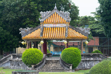 traditional chinese temple in garden