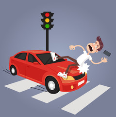 Driver hit careless man character with phone by car. Road car drunk driver and careless pedestrian accident concept. Vector flat cartoon isolated illustration