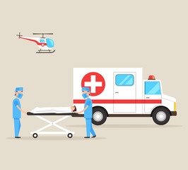 Two first aid doctors carry the victim patient on stretchers after accident disaster. Ambulance emergency medicine hospital car and helicopter. Healthcare concept. Vector flat cartoon isolated
