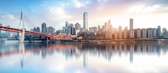 Modern metropolis skyline, Chongqing, China, Wall mural