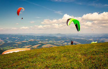 Skydiving  extreme training in mountains