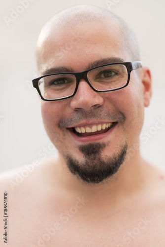 64592dfb589b Bald man outdoors portrait smiling and shirtless