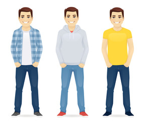 Man casual clothers vector set collection illustration