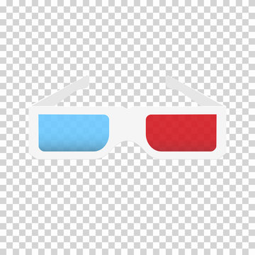 Paper 3d glasses with red and blue lenses isolated on transparent background