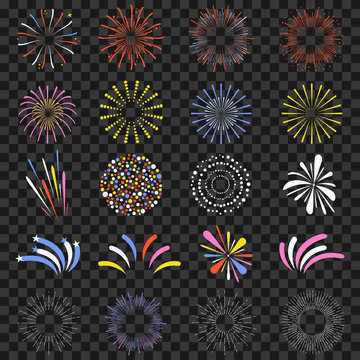 Festive fireworks isolated on transparent background. Brightly, colorful and monochrome celebration firecrackers