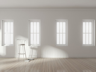 3D rendering of white room interior and wood plank floor with sun light cast on the white stool chair and small book,Perspective of minimal design architecture