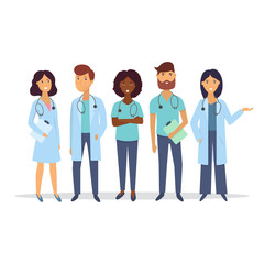 Doctors. Medical staff. Medical team concept. Flat design people character. Vector.