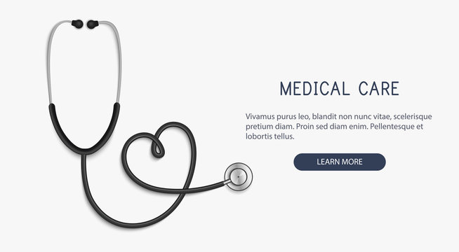 Medical and Health care concept, stethoscope heart shape.Vector