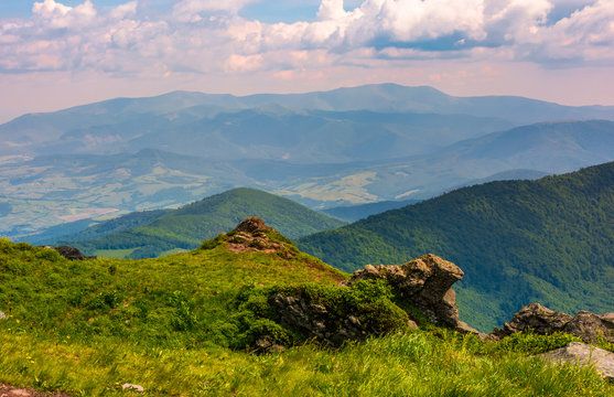 view from the cliff in to the valley. lovely summer landscape of Carpathian mountains