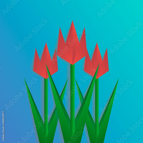 three paper cut tulips on blue background collage with shadows