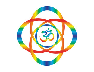 Rainbow mandala with a sign of Aum /Om/Ohm. Abstract artistic object. Spiritual symbol.