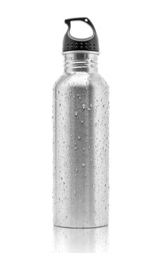 metallic aluminum water drinking bottle for sport activity with water droplets