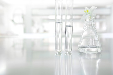 white orchid flower on glass flask and test tube in science cosmetic laboratory background
